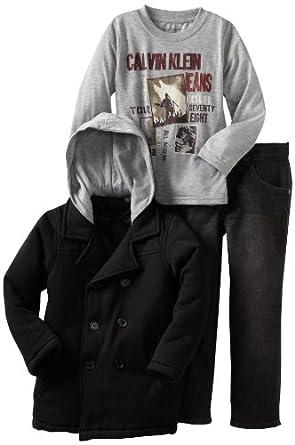 (帅气)Calvin Klein Boys 2-7 Long Sleeve卡尔文男2-7长袖T恤和羊毛厚昵大衣 39.99刀