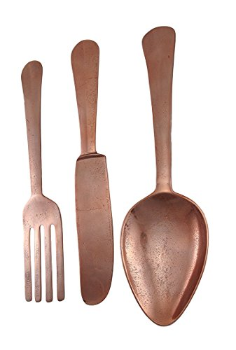 Copper Finish Metal Knife, Fork, Spoon Wall Decor Set 23 Inch