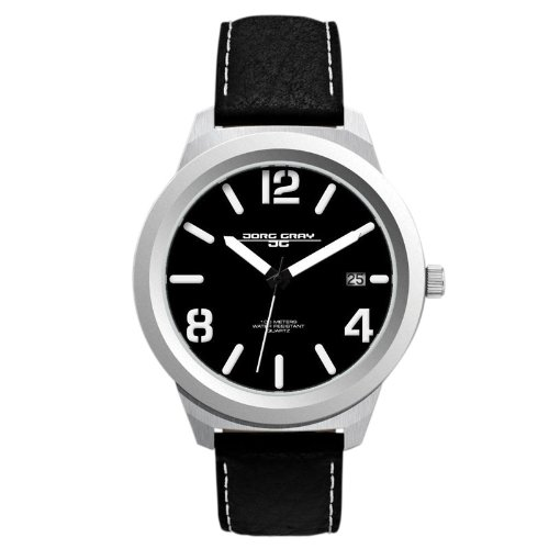 Jorg Gray Men's Analogue Watch JG1950-11 with Black Dial and Leather Strap