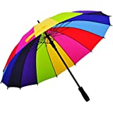 Straight Rainbow Umbrella, Ambrellaok Windproof,waterproof And Anti-uv Auto Open Large Straight Sun-rain Umbrella...