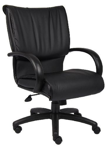 Boss Mid Back Black Leatherplus Executive Chair