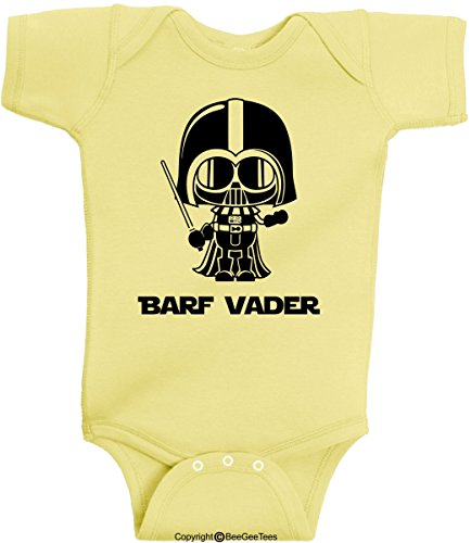 Barf Vader 2 Funny Star Wars Onesie Bodysuit Romper by BeeGeeTees® (12 Months, Banana)