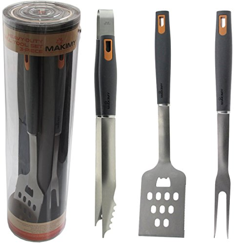 Makimy 3-Piece BBQ Tool Set - Gift Box - Best Value Grill Accessories Professional-Grade Heavy Duty Extra Strong Stainless-Steel With Non-Slip Handles on Amazon - Perfect for Smokers, Charcoal, Gas, Electric and Infrared Outdoor Grills - The Ideal Gift Idea for Men - Perfect Gift For Dad (Bbq Tools Funny compare prices)