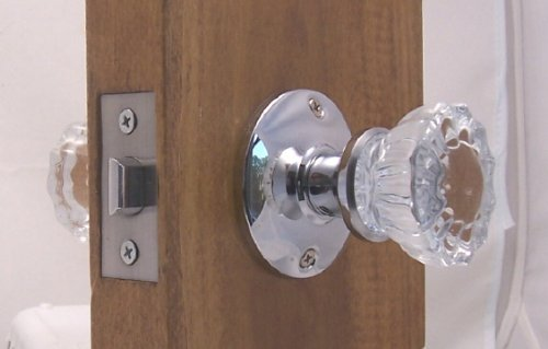 Fluted Crystal Glass & Polished Chrome Passage Door Knob Sets for Modern Doors+includes Our New Secure Set Screw System.