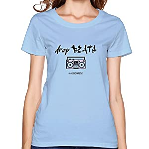 No Bombs Print Korean Short Sleeve O Neck T Shirt For Women