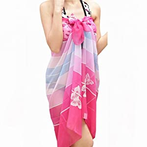 World Pride Chiffon Floral Pareo Dress Sarong Wrap Beach Bikini Cover up Scarf
