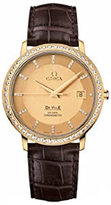 Omega Deville Prestige Champagne Dial 18kt Rose Gold Brown Alligator Leather Ladies Watch 413.58.37.20.58.001