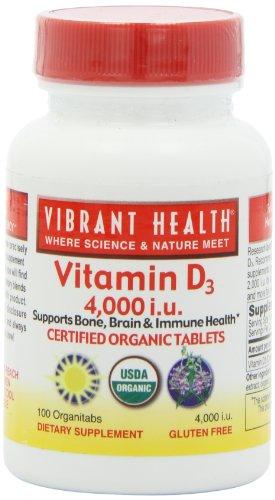 Vibrant Health Vitamin D-3 4000 I.U, Organitabs, 100-Count