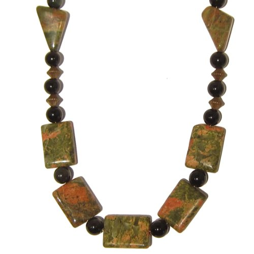 Obsidian Necklace 06 Beaded Unakite Black Green Pink Gemstone Crystal Healing Reiki Energy 22