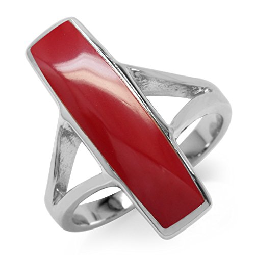 Long Red Created Coral White Gold Plated 925 Sterling Silver Ring Size 7 (Coral Rings compare prices)