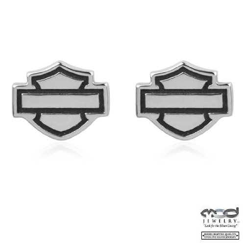 Harley Davidson® Bar & Shield post sterling earrings HDE0285 by MOD®