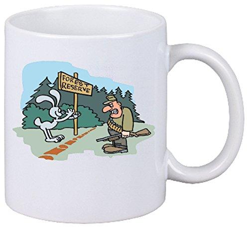 """Tasse de Café .. Tasse à Thé ... Coffee Mug """" chasseurs de lapin se moquaient du dessin animé hauteur ... Hauteur 9 cm de Diamètre 8 cm Volume 330 ml ... Le cadeau idéal pour leur Partenaire - Collègue - Amis"""