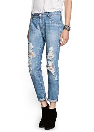 Mango Women's Boyfriend Lonny Jeans, Light Denim, 8