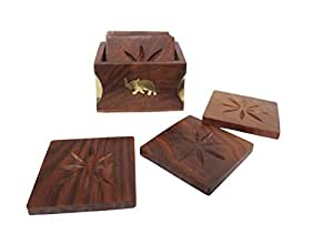 Pindia Elephant Wooden Brass Work Dinning Table Decor Coaster Set