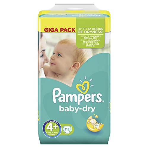 PAMPERS Baby Dry tamaño 4+ Maxi Plus 9-20kg Giga Pack 112Pañales
