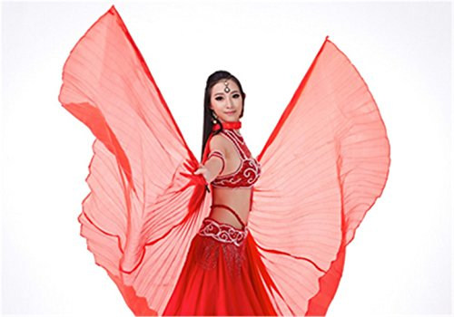 Dreamspell belly dance isis big wings red one color for dancer, best gift