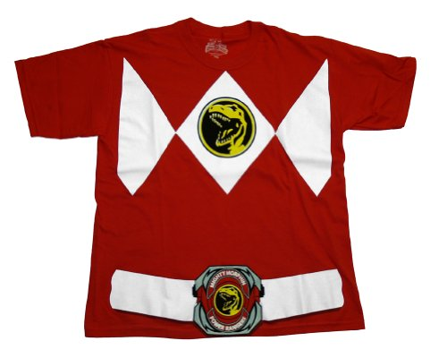 Power Rangers Red Ranger Costume Red T-Shirt Tee