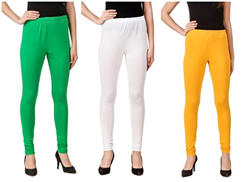 Svadhaa White Green Yellow Cotton Lycra Leggings(Pack Of 3)