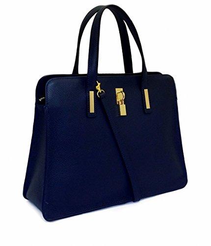 DEEP ROSE Borsa in Vera Pelle Donna Made in Italy a spalla a mano Con tracolla,lucchetto e chiave ART. LUDOVICA