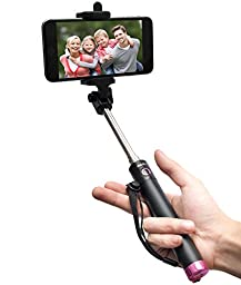 Selfie Stick, Baslo Compact Foldable Selfie Poles Extendable Wireless Bluetooth Selfie Sticks with Built-In Remote Shutter Best Selfie Stick for iPhone Samsung and Other Mainstream Smart Phones (Pink)
