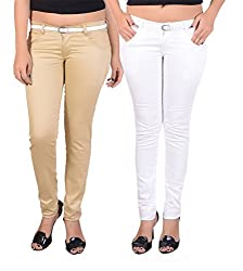 Goodgift Brown & White Cotton Lycra Jeans