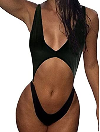 Women's One Piece Stomach Cut Out Slingshot Style Backless