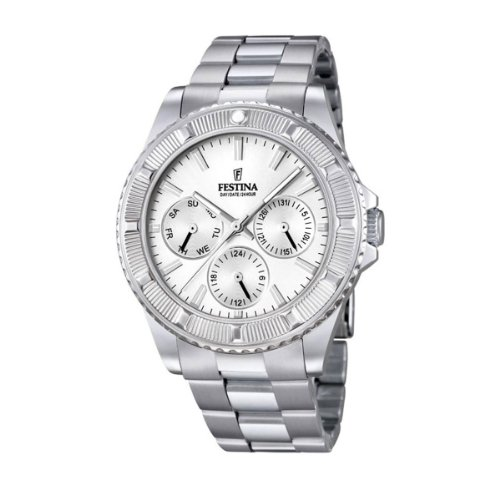 Festina Unisex Quartz Watch with Silver Dial Analogue Display and Silver Stainless Steel Bracelet F16690/1