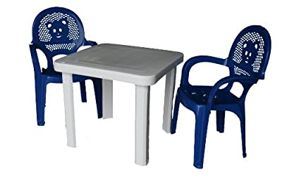 Resol Childrens Kids Garden Outdoor Plastic Chairs & Table Set - Blue Chairs, White Table - Childs Furniture (Pack of 2 Chairs & 1 Table)