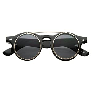 Old-School Small Retro Steampunk Circle Flip Up Glasses |Sunglasses