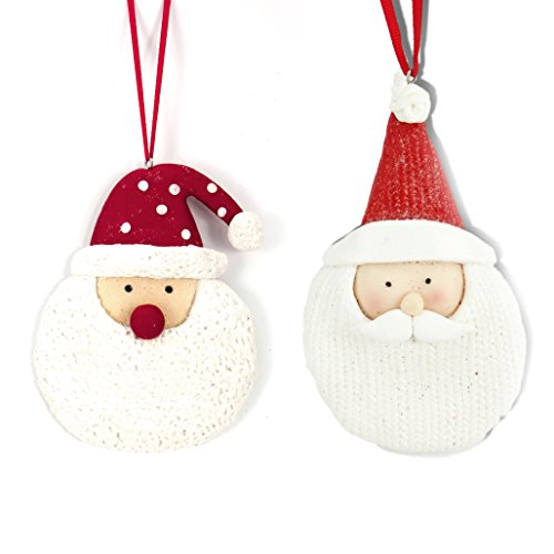 Holiday Lane Santa Clay Set of 2 Christmas Ornaments