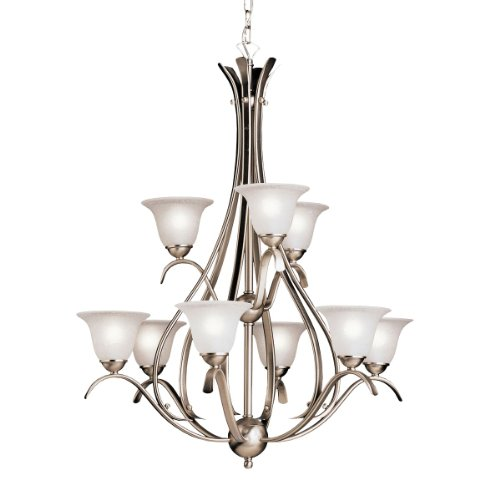 2520NI Dover 9LT 2-Tier Chandelier, Brushed Nickel Finish with Etched Seedy Glass