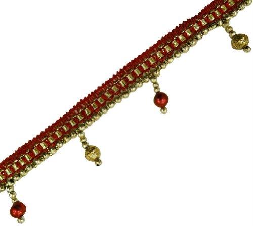 Red Braid Base Gold Beaded Fringe Ribbon Trim Border Lace Craft India 4 Yd