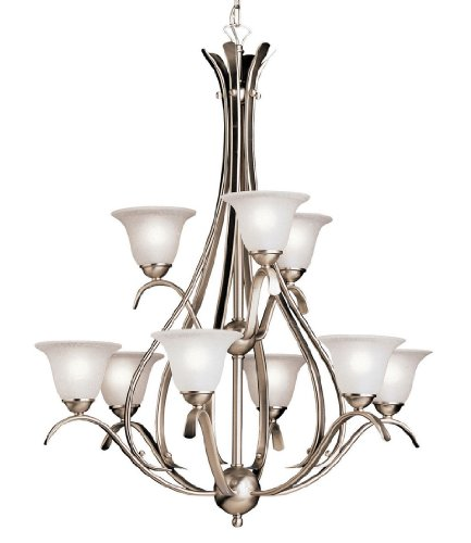 B000JZNLA2 2520NI Dover 9LT 2-Tier Chandelier, Brushed Nickel Finish with Etched Seedy Glass