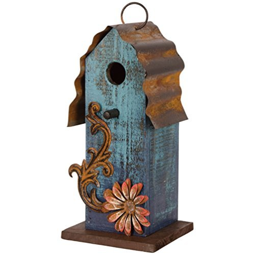 "Carson - Aqua Blue w/ Red Flower Wood & Tin Roof 10"" Hanging"