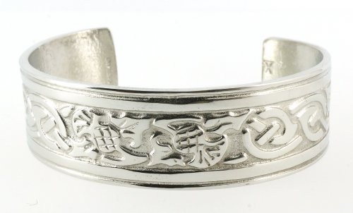 Handmade Celtic Thistle Interlace Silver Shine Pewter Cuff Bracelet - Arm Cuff Jewelry for Women