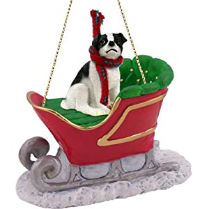 Jack Russ Smooth Coat Black / White Sleigh Christmas Ornament