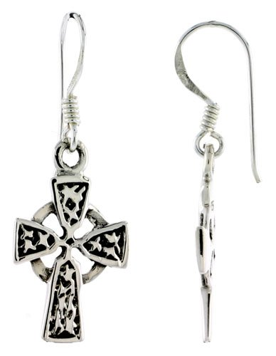 Sterling Silver High Cross Celtic Dangle Earrings, 1 3/8 inch (35 mm) tall