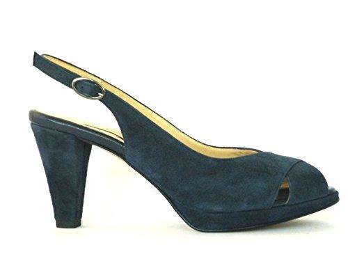 Menstor Donna sandalo blu tacco più plateau plantare in pelle chiara anatomico taglia 37