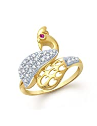 Meenaz Enchanting Peacock Gold And Rhodium Plated Cz Ring FR104 For Women