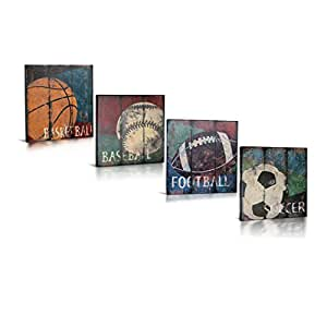 Sports themed canvas wall art for boys room for Vintage basketball wall art