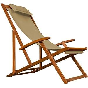 chaise camping plage pliante en bois tissu assise beige coussin amovible jardin. Black Bedroom Furniture Sets. Home Design Ideas