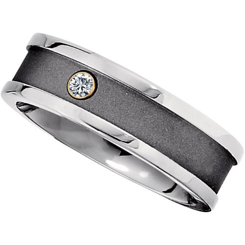 Titanium, Satin and Polished One Diamond Wedding Band (sz 10)