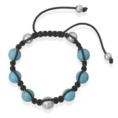 Turquoise Bead Macrame Bracelet with Diamond Cut Sterling Silver Adjustable Length