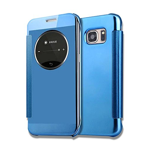 Samsung-Galaxy-S7-HlleNnopbeclik-Hybrid-2in1-Ultra-Slim-TPUPC-Schutzhlle-Cover-Case-Leder-Flip-Galvanik-Electroplating-Smart-Schlaf-Wach-Uhr-Muster-Metallisch-Farbe-Handytasche-Etui-mit-Runden-Fenster