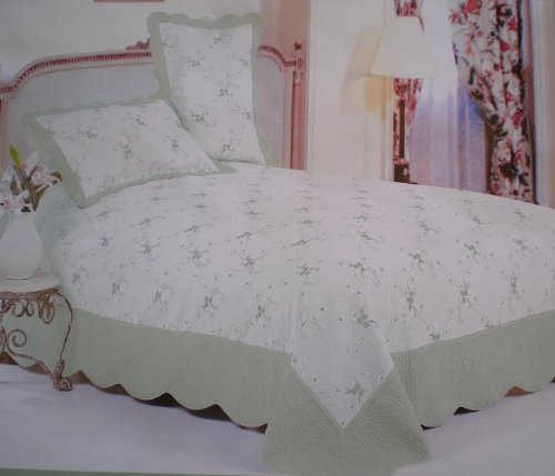 3pc 100% cotton fully quilted emb' bedspread set SAGE