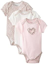 Little Me Baby-Girls Newborn Leopard 3 Pack Bodysuit, Pink/Multi, 3 Months