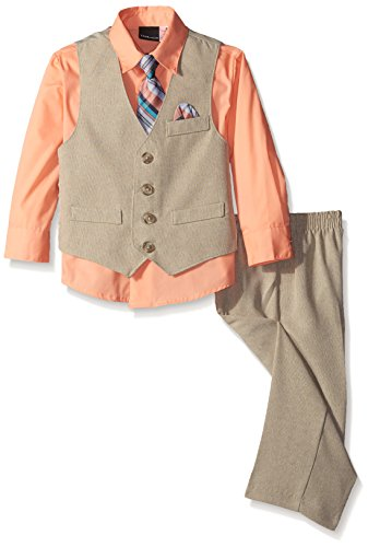 Van Heusen Little Boys' Solid Ticking Vest Set, Passionate, 6