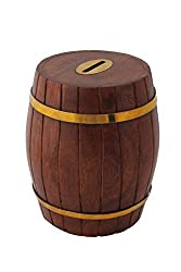 Craft Art India Handcrafted Wooden Barrel Shape Money Bank /Piggy bank / Coin Box