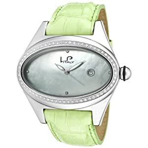 Lucien Piccard Women's 746.20.283 Grand Ducato Diamond Accented Light Green Leather Watch