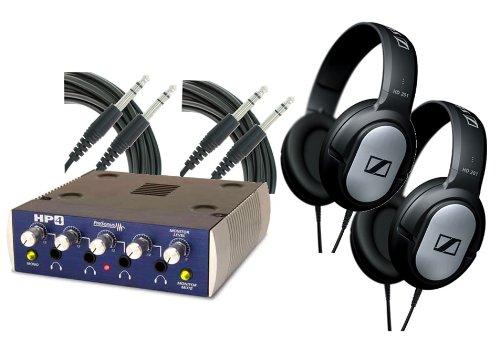 "Pair Of Sennheiser Hd201 Headphones With Presonus Hp4 Headphone Amplifier And 2 ¼"" Trs 10' Cable"